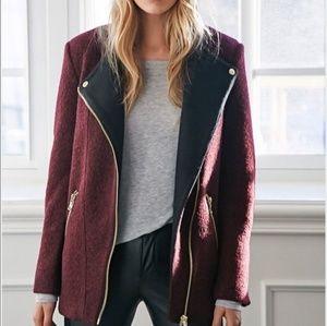 Forever 21 Burgundy Wool Coat Zipper Jacket